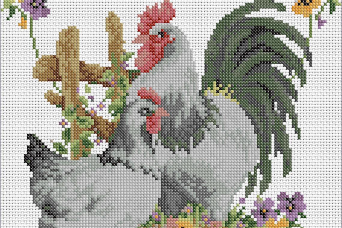 Granja con pollos