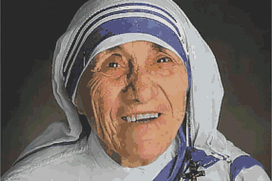 Teresa de Calcuta en Punto de cruz